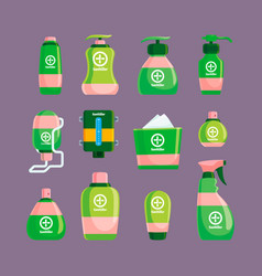 sanitizer hygienic spray bottles wiping clear vector image