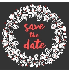 Save the date card with wreath vector image