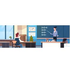 School math lesson female teacher with pupil boy vector