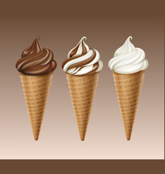 set of chocolate white ice cream waffle cone vector image