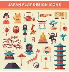 Set of flat design japan travel icons and vector