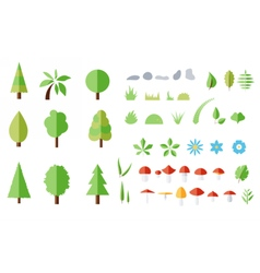 set of forest elements vector image