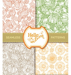 Set of seamless pumpkin patterns vector