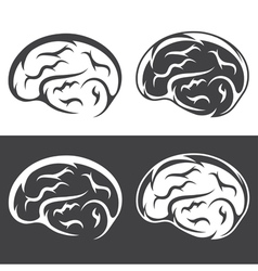 Set of simple icons with brain vector
