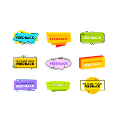 set we want your feedback banners or labels vector image