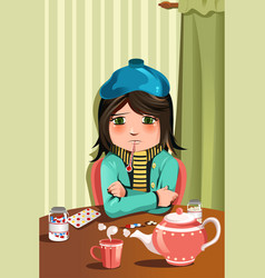 sick little girl vector image