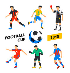 Soccer players set football cup 2018 full color vector