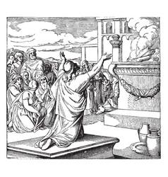 Solomon dedicates temple vintage vector