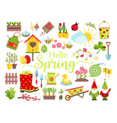 spring and gardening tools icons set planting vector image