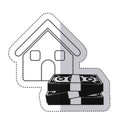 sticker monochrome contour house with many dollars vector image