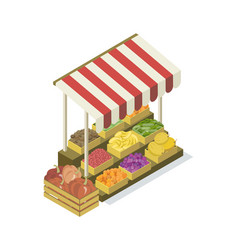 Street vendor booth isometric 3d icon vector
