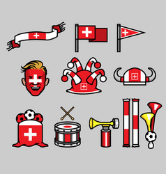 switzerland soccer supporter gear set vector image