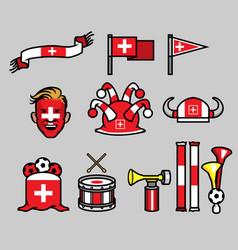 switzerland soccer supporter gear set vector image