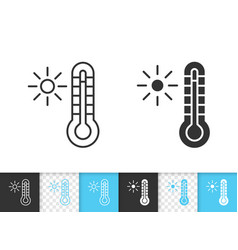 thermometer simple black line icon vector image