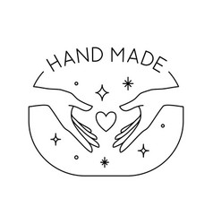 Trendy hand made label or badge gesture in vector