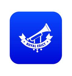 Trumpet icon blue vector