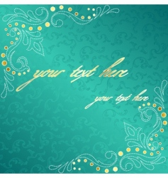 turquoise frame with delicate swirls vector image