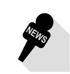 tv news microphone sign black icon vector image