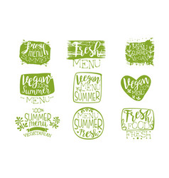 vegan menu vintage stamp collection vector image