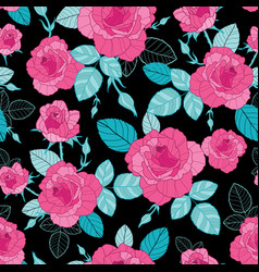 vintage pink roses and blue leaves on black vector image