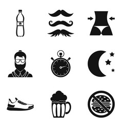 Whiskers icons set simple style vector
