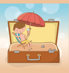 young boy in suitcase on beach scene vector image