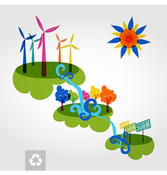 Go green city wind mills trees solar panels and vector image vector image