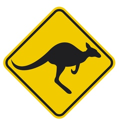 Kangaroo warning sign vector image vector image
