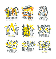 nothern set for label design winter vacations vector image