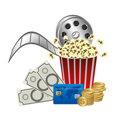 pop corn film production and clipart money vector image vector image