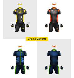 realistic cycling uniforms branding mockup vector image vector image