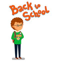 schoolboy happy schoolboy with backpack vector image vector image
