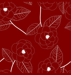 white camellia flower on red background vector image vector image