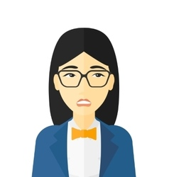 Embarrassed woman in glasses vector