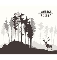 Forest design pine tree deer drawing sketch vector image vector image