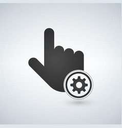 hand mouse cursor with settings gear icon in the vector image