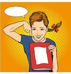 Happy girl hold a book in her hands vector image vector image