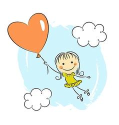 Little girl with heart balloon vector image vector image