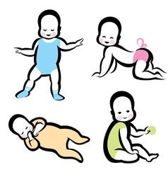 cheerful active baby symbol vector image vector image
