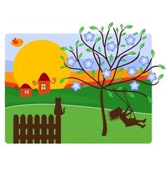 Childhood with Landscape vector image