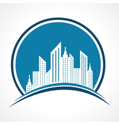 Abstract blue real estate icon design vector image