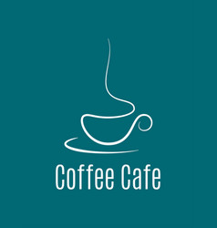 coffee cup logo on blue background vector image vector image