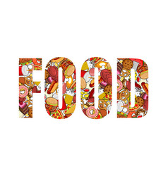 food typography letters of feed lettering of meat vector image vector image