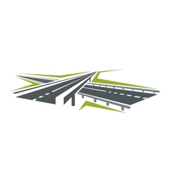Highway pass under overpass icon vector image vector image