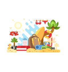 objects of summer holidays vector image