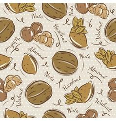 Pattern with almond hazelnut and walnut vector image