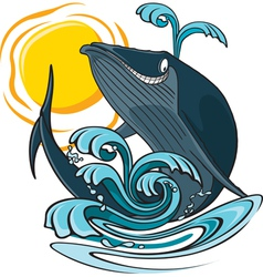 whale and water vector image