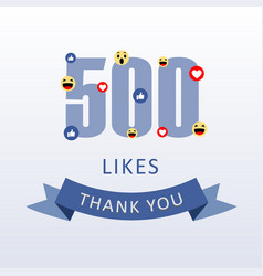 500 likes thank you number with emoji and heart vector