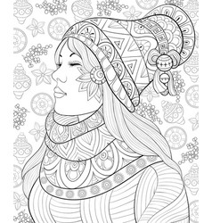 adult coloring bookpage a cute girl with vector image