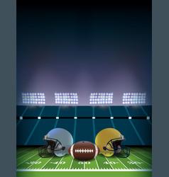 american football field stadium with helmets vector image